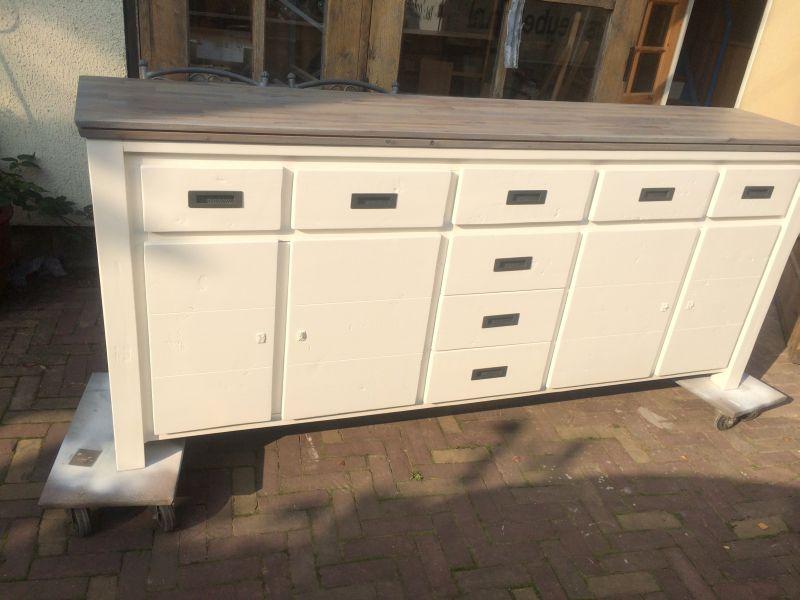 Wit dressoir met houten blad ben lamers meubelen